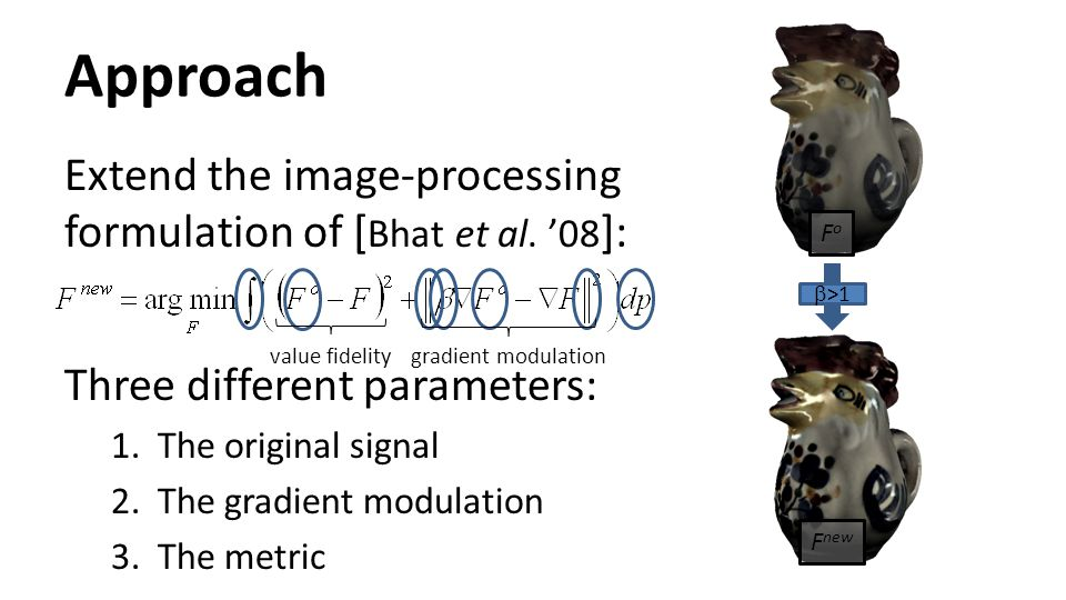 Approach Extend the image-processing formulation of [Bhat et al. '08]: